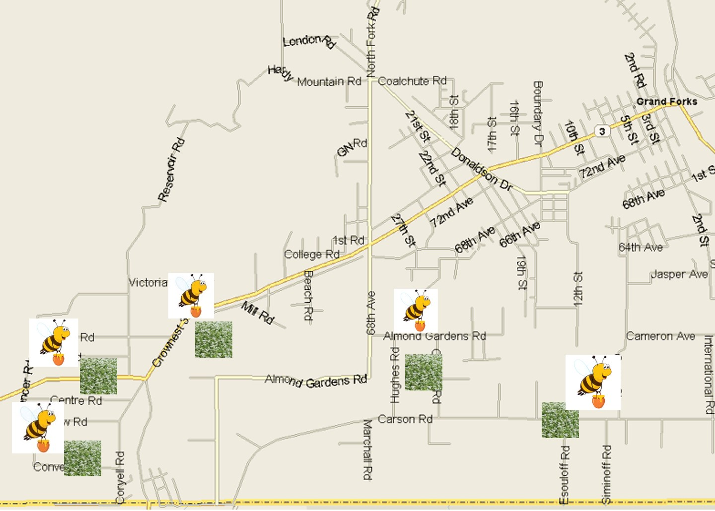 Map of Buckwheat Fields and Bee Sites in West Grand Forks
